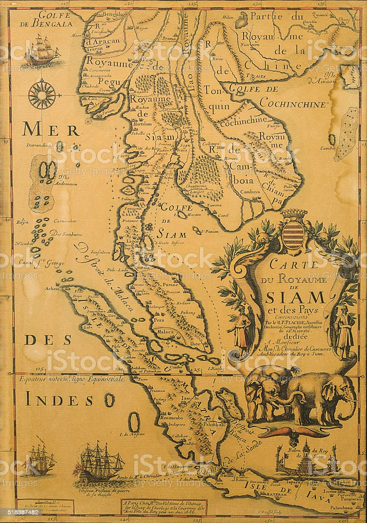 Antique Thailand map from XVII century stock photo