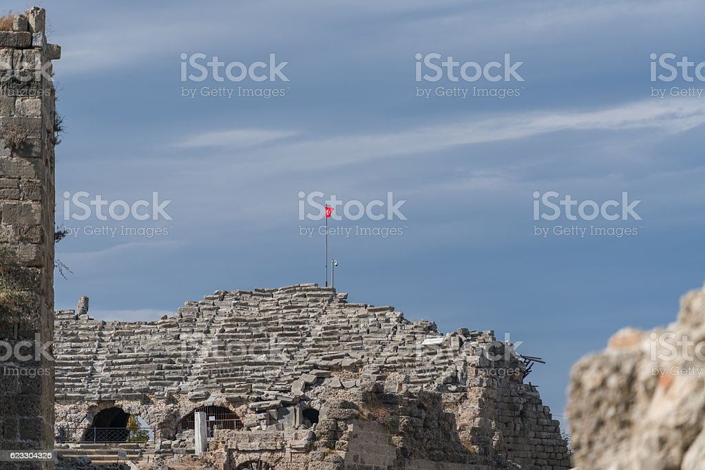 antique theatre ancient city side turkey stock photo
