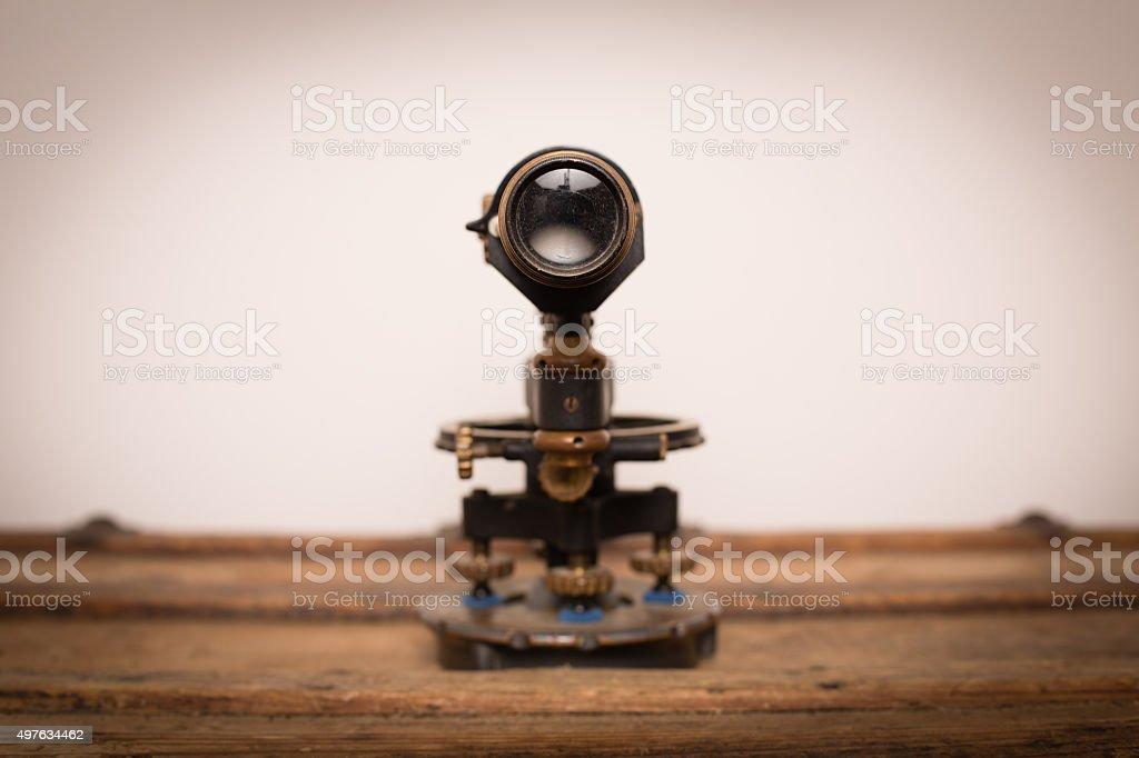 Antique Theodolite, Survey Transit Tool, Surveying Instrument of Measurement stock photo