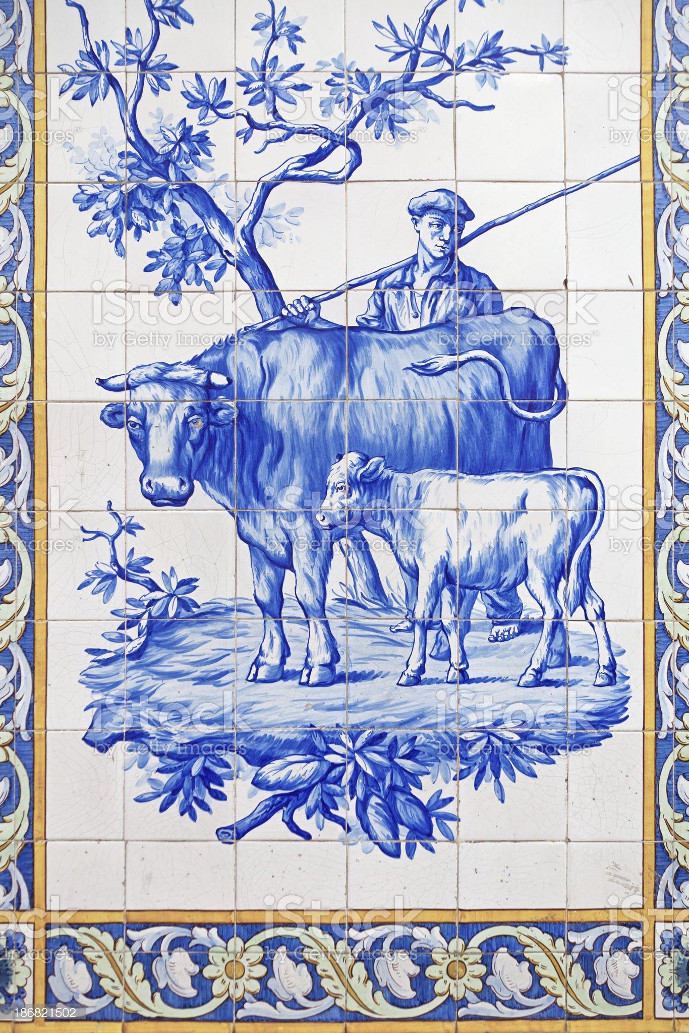Antique tile mosaic royalty-free stock photo