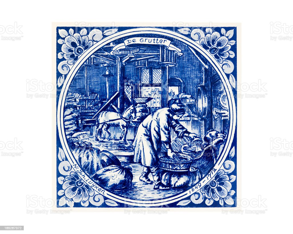 Antique tile with blue drawing by Joh Luyken 'Miller' stock photo