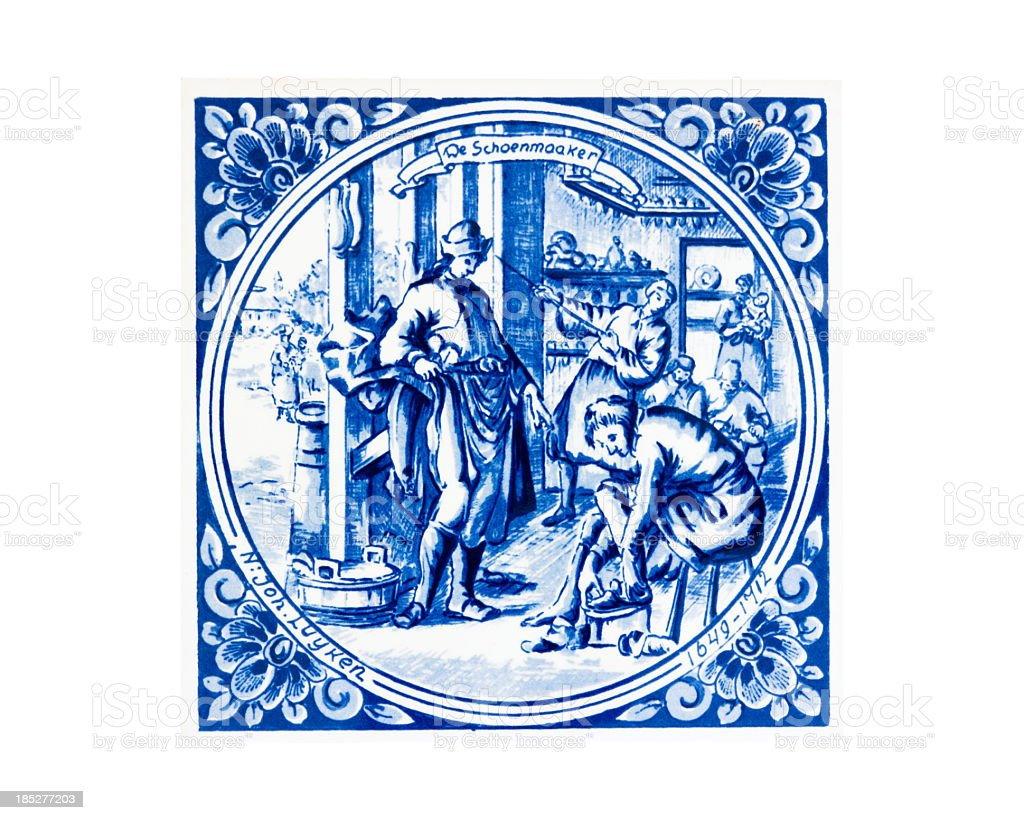 Antique tile with blue drawing by joh Luyken - Shoemaker stock photo