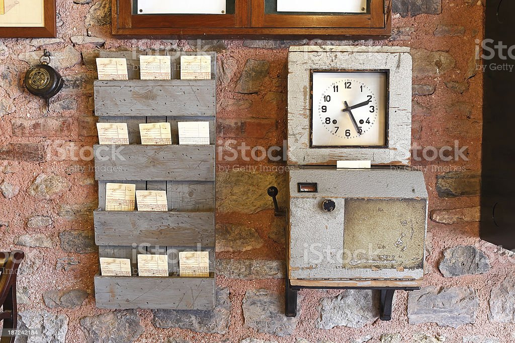 Antique Time Clock stock photo