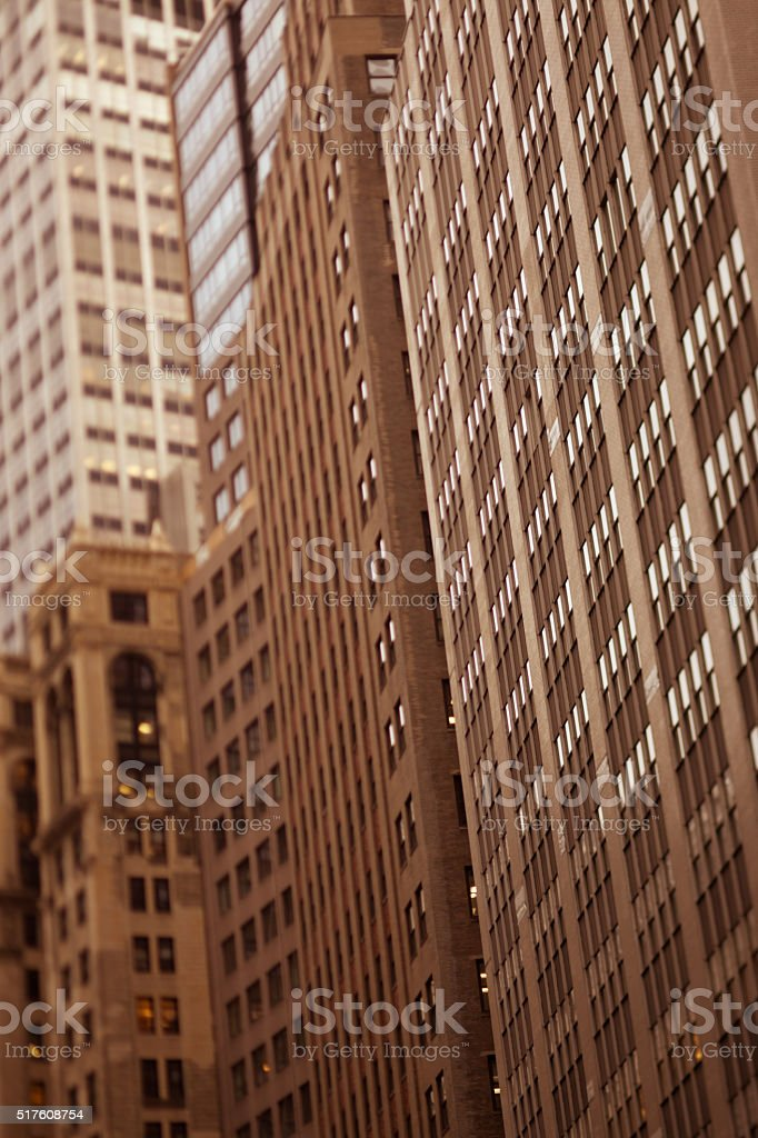 Antique toned and blurred photo of New York City buildings stock photo