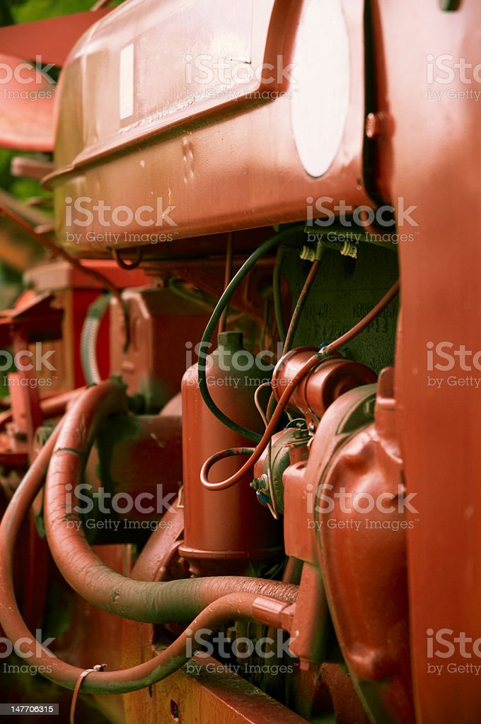 Antique Tractor Engine stock photo