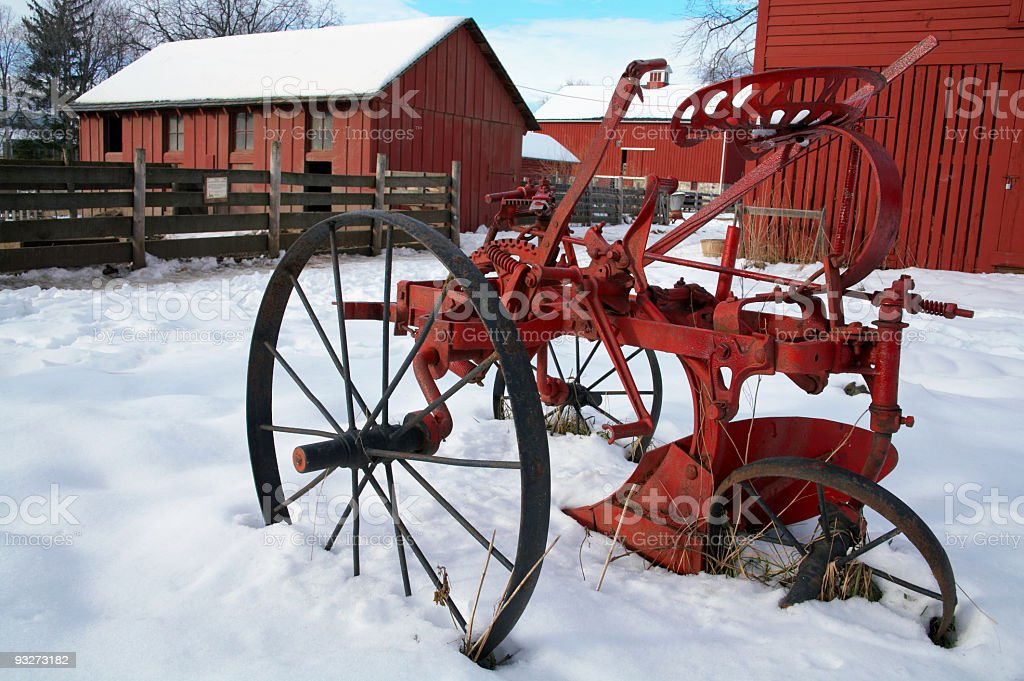Antique Tractor in Winter royalty-free stock photo