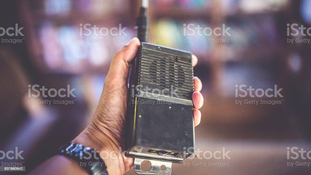 Antique transceiver walkie-talkie stock photo