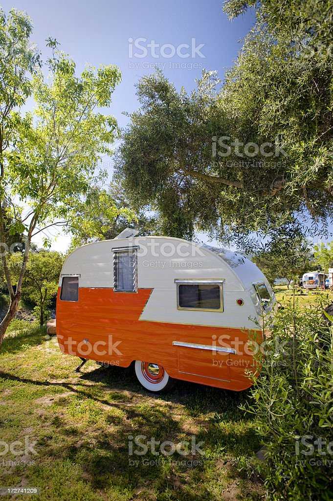 Antique Travel Trailer royalty-free stock photo