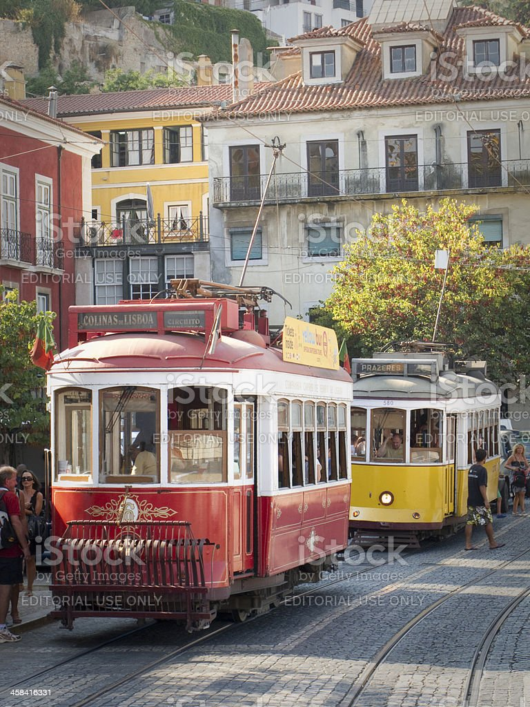 Antique trolley cars in old town Lisbon Portugal stock photo