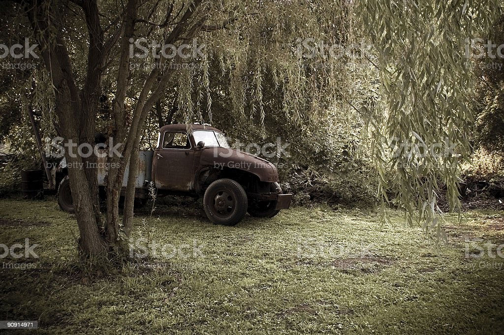 Antique Truck And Weeping Willow royalty-free stock photo