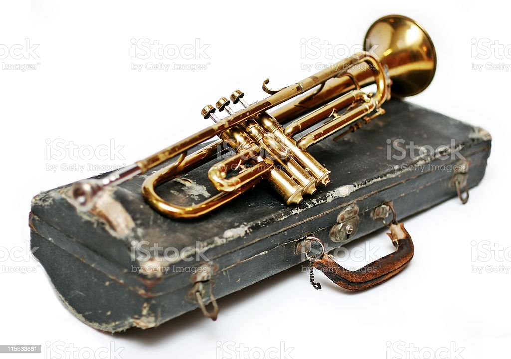 Antique Trumpet and Case royalty-free stock photo