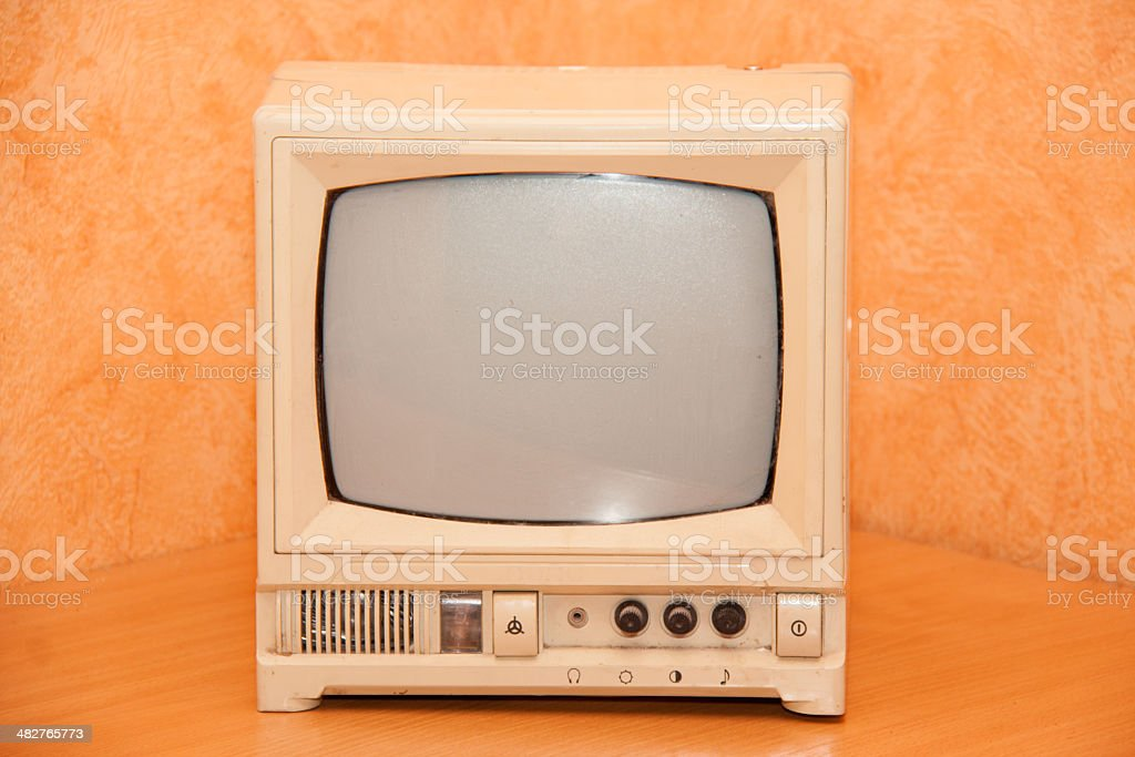 antique TV or old television stock photo