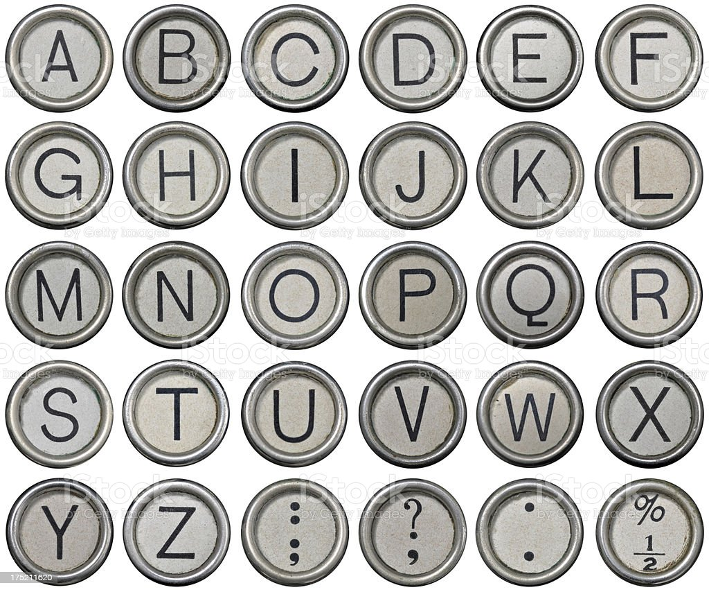 Antique Typewriter Alphabet Keys royalty-free stock photo