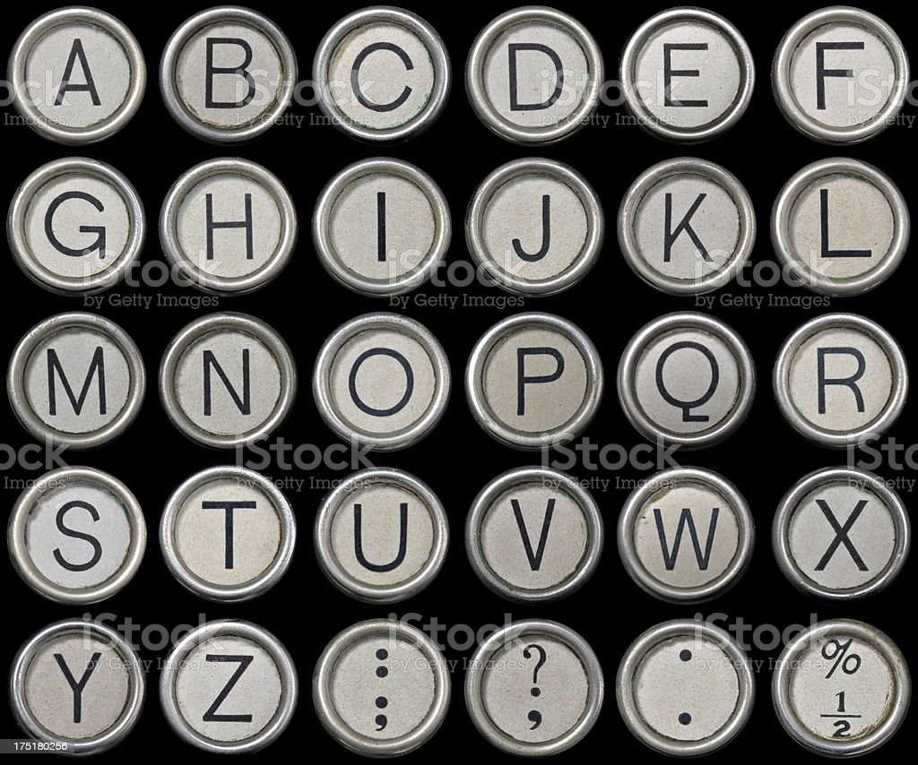 Antique Typewriter Alphabet royalty-free stock photo