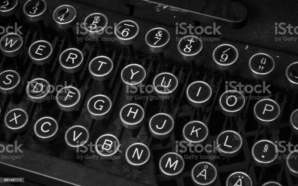 Antique typewriter keybaord closeup stock photo