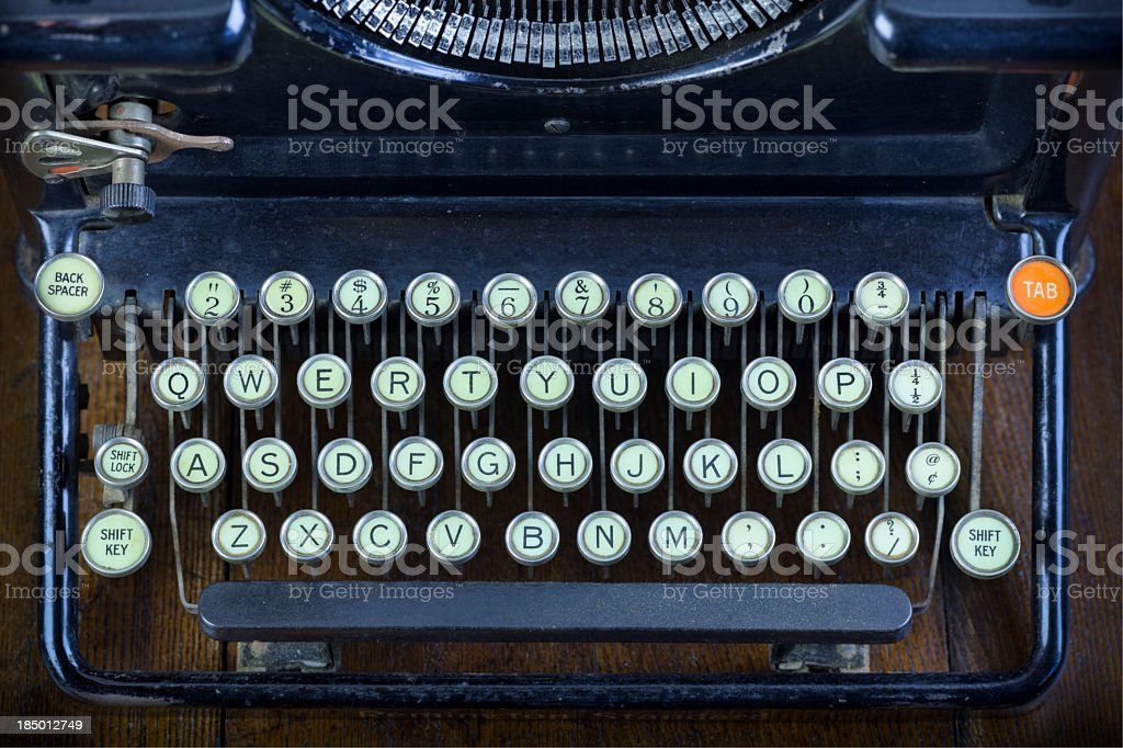 Antique Typewriter Keyboard stock photo