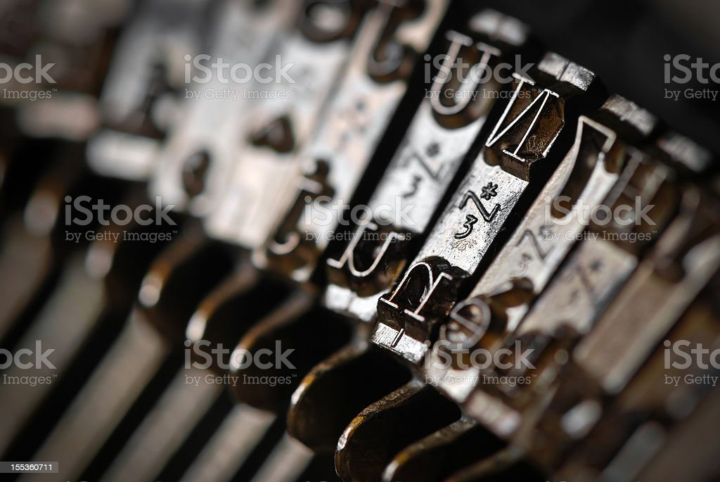 Antique typewriter macro close up letters stock photo