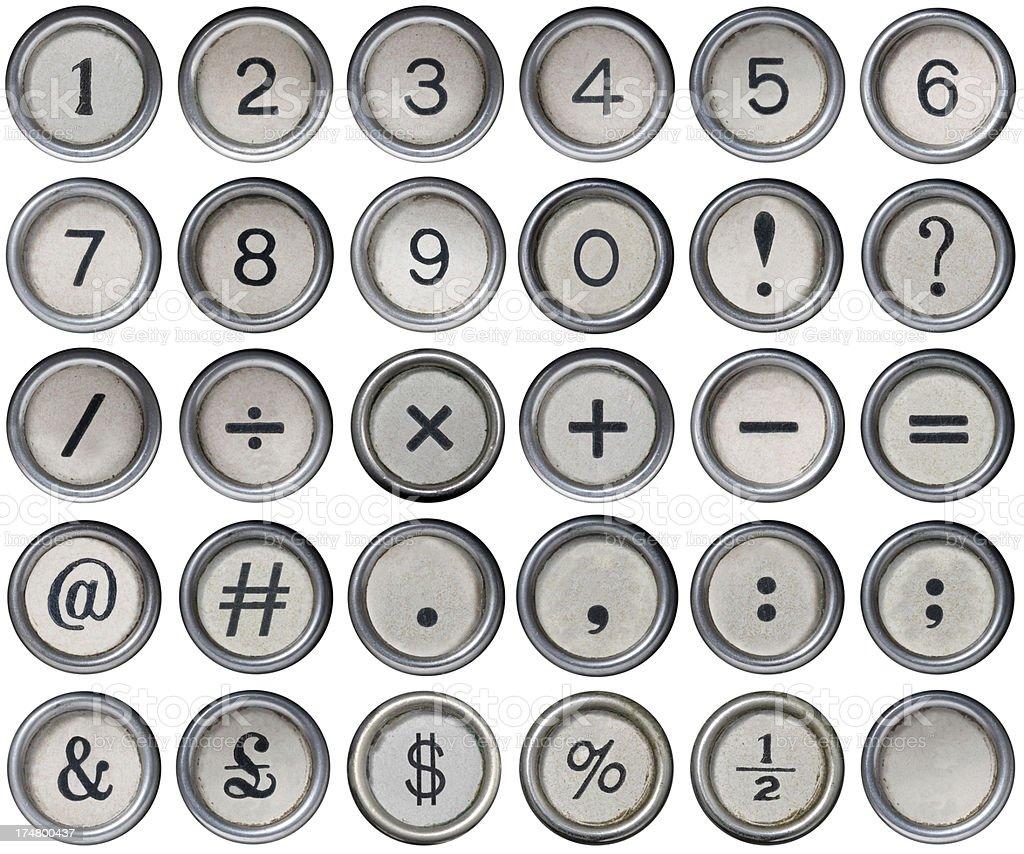 Antique Typewriter Numerical and Punctuation Keys stock photo