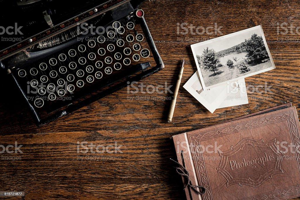 Antique Typewriter, Photos and Photo Album stock photo