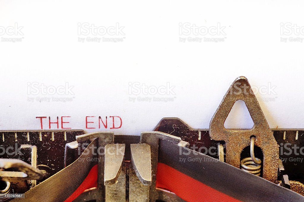 Antique Typewriter The End Red royalty-free stock photo