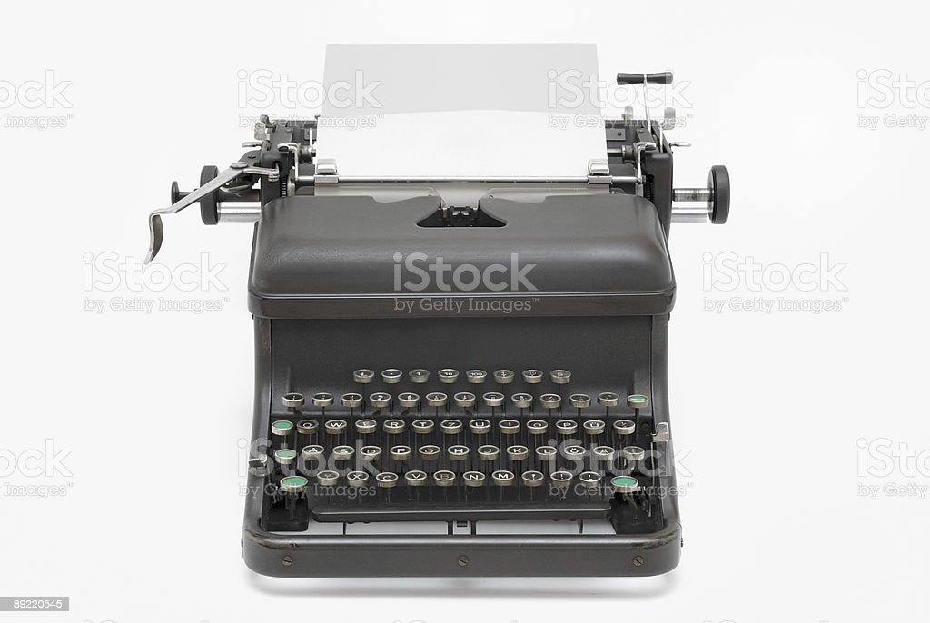 Antique typewriter with paper royalty-free stock photo