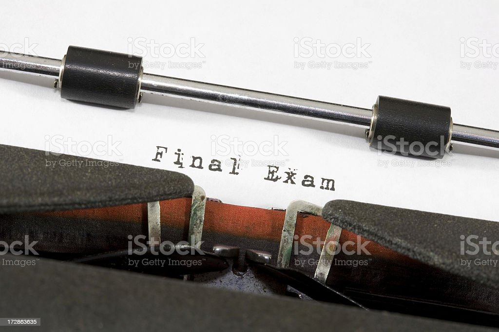 Antique Typewriter with the Words 'Final Exam' Typed on Paper royalty-free stock photo