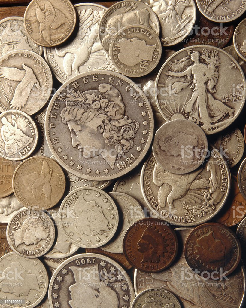 Antique Us Coins. stock photo