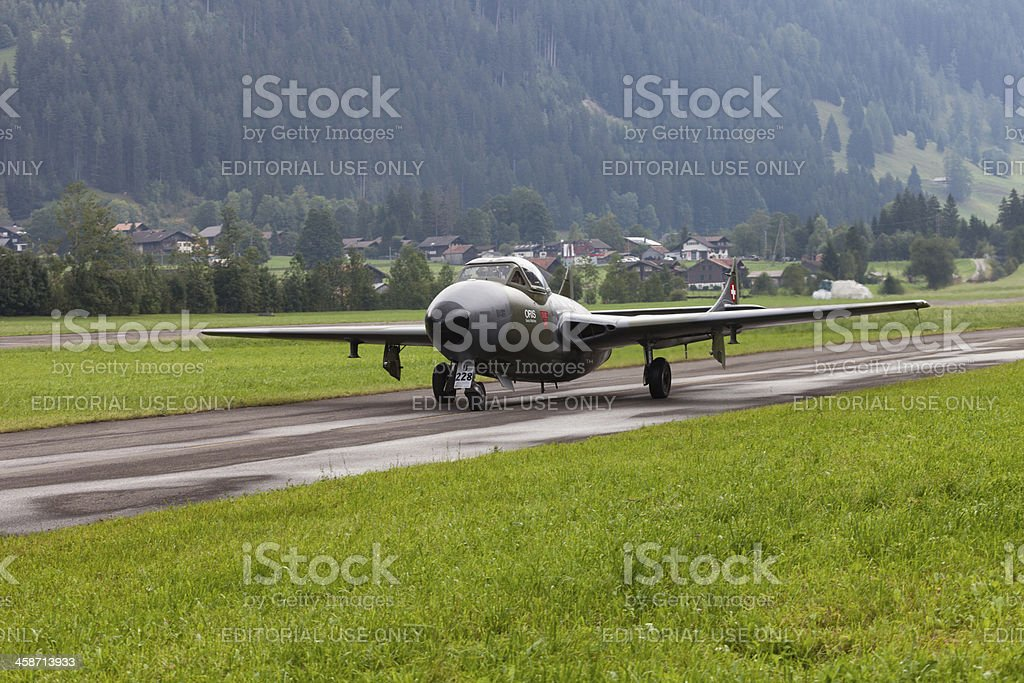 Antique Vampire Jet at St. Stephan Air Show stock photo