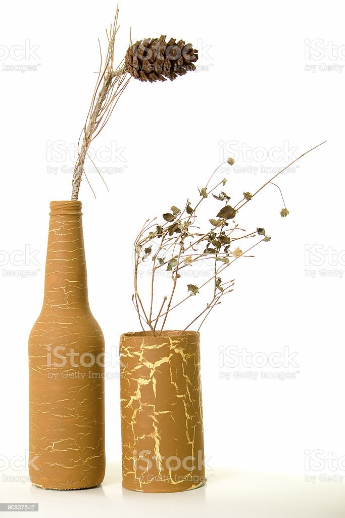 Antique vases with dry plants. royalty-free stock photo