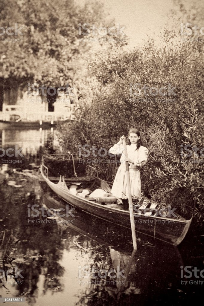 Antique Victorian Photograph of Young Girl in Boat royalty-free stock photo