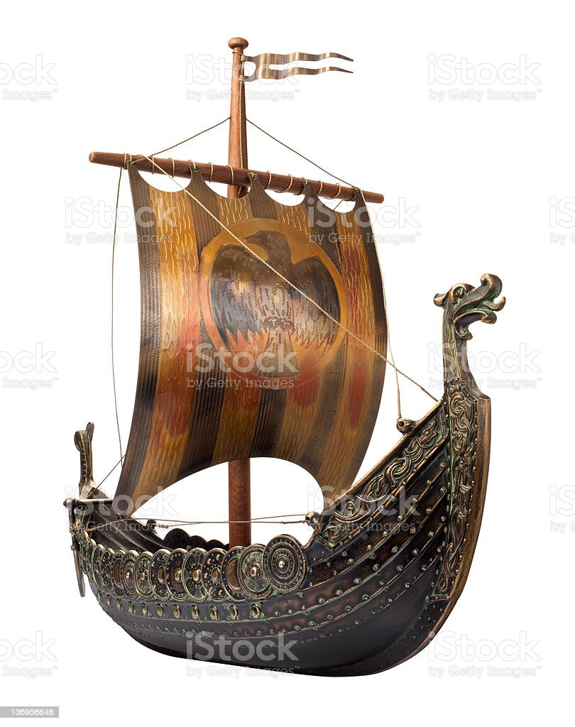 Antique Viking Ship isolated on white stock photo