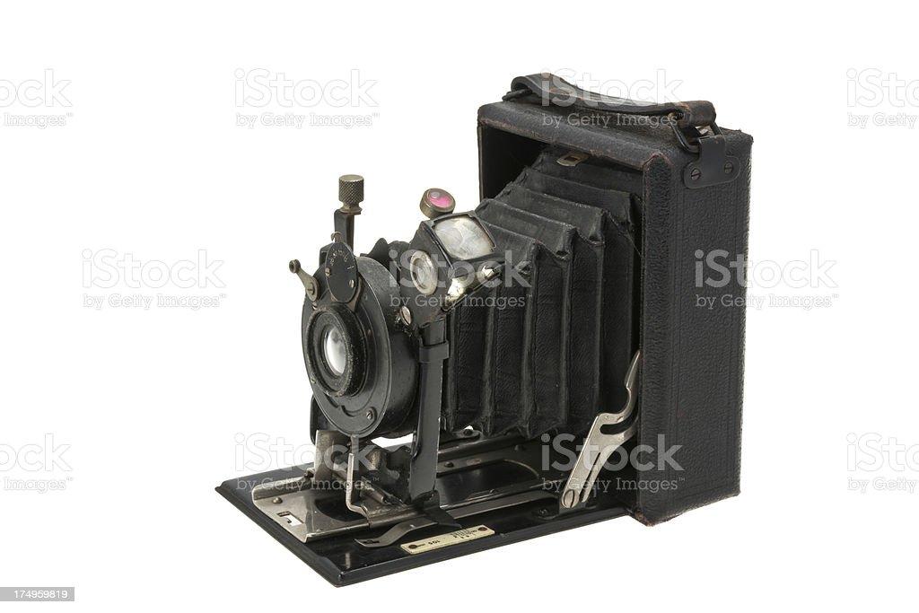 Antique vintage folding camera stock photo