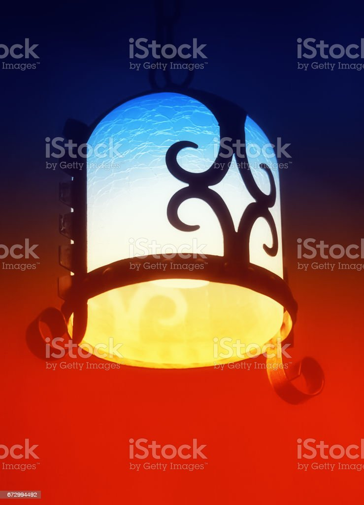 Antique Vintage Forged Lamp stock photo