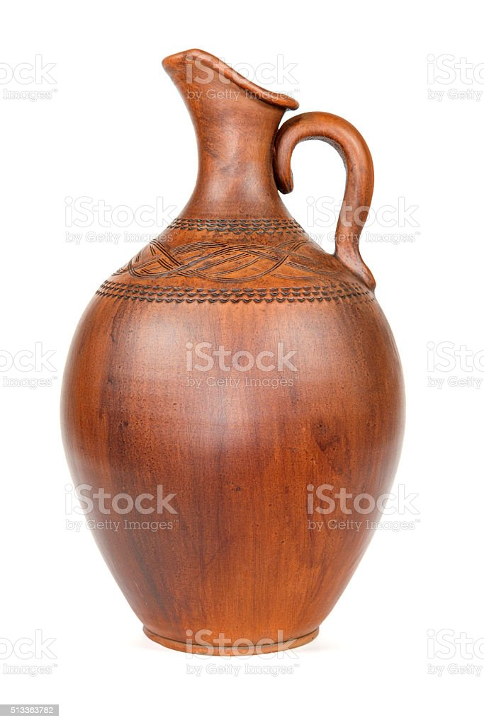Antique vintage Slavic earthenware jug, timetable national ornament. White background. stock photo