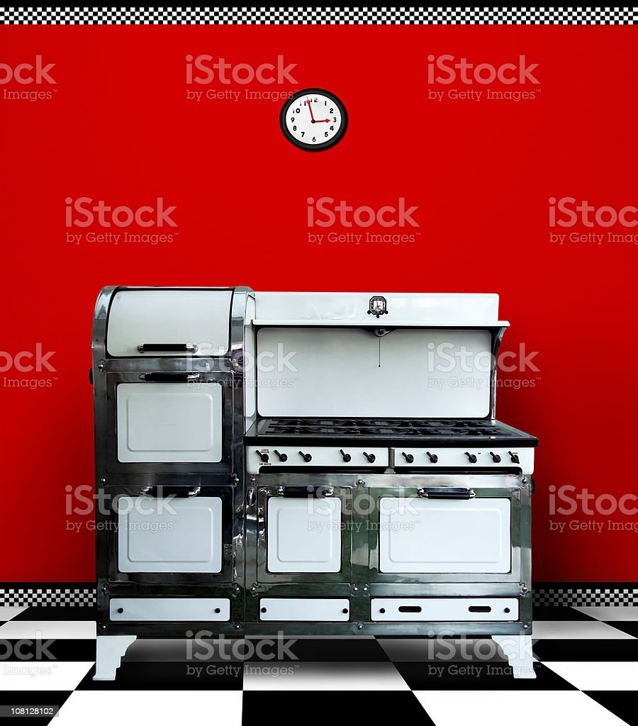 Antique Vintage Stove in Red Kitchen stock photo