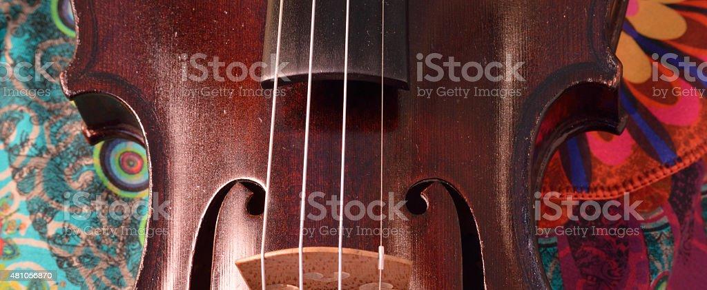 Antique violin closeup, extreme widescreen size. stock photo