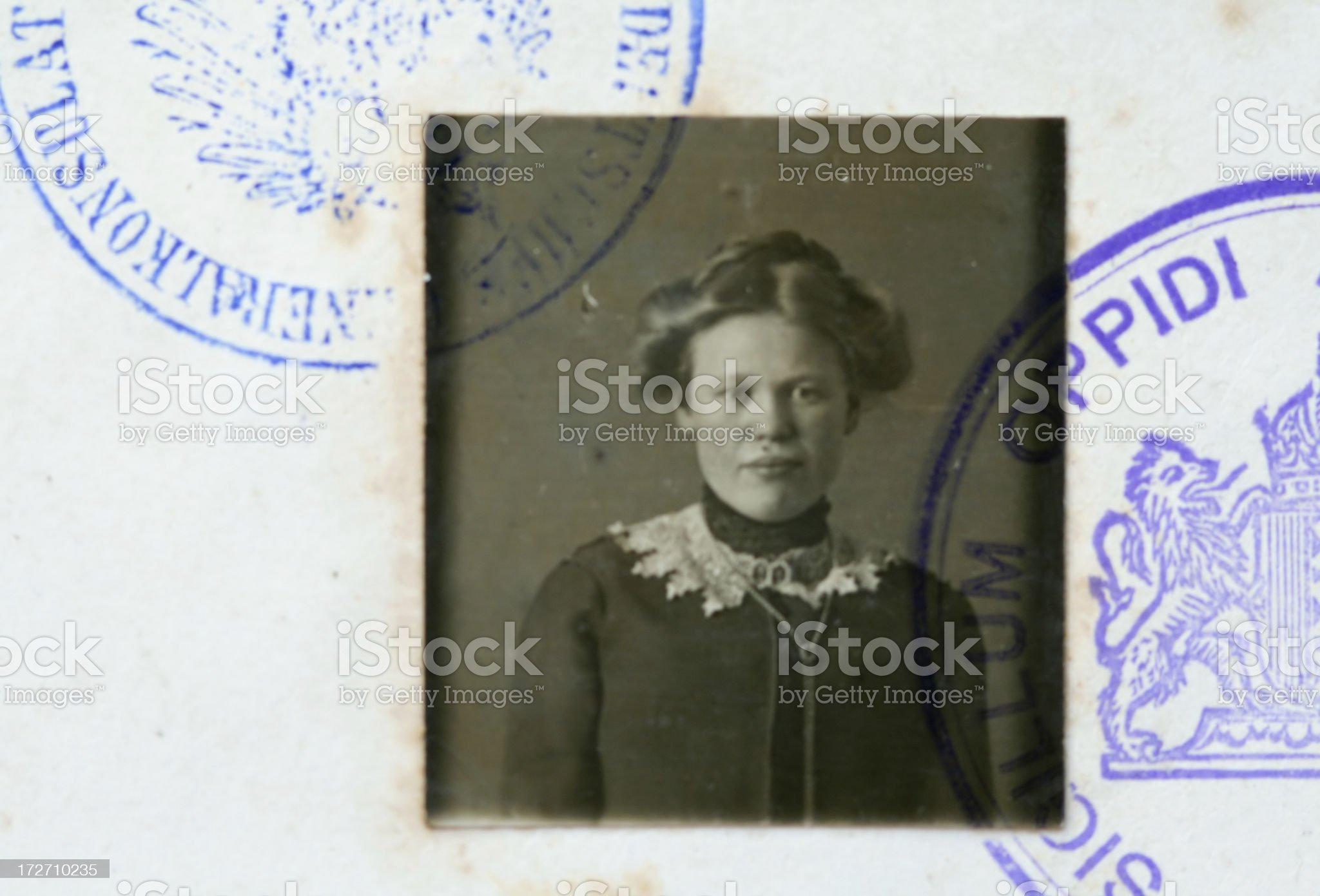 Antique visum photo royalty-free stock photo