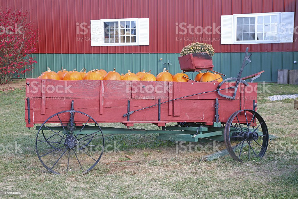 Antique Wagon Full Of Pumpkins royalty-free stock photo