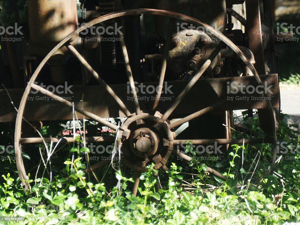 Antique Wagon Wheel stock photo
