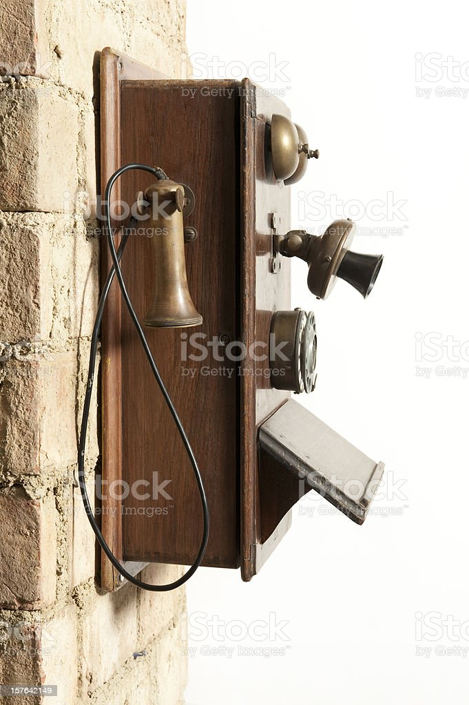 antique wall phone stock photo