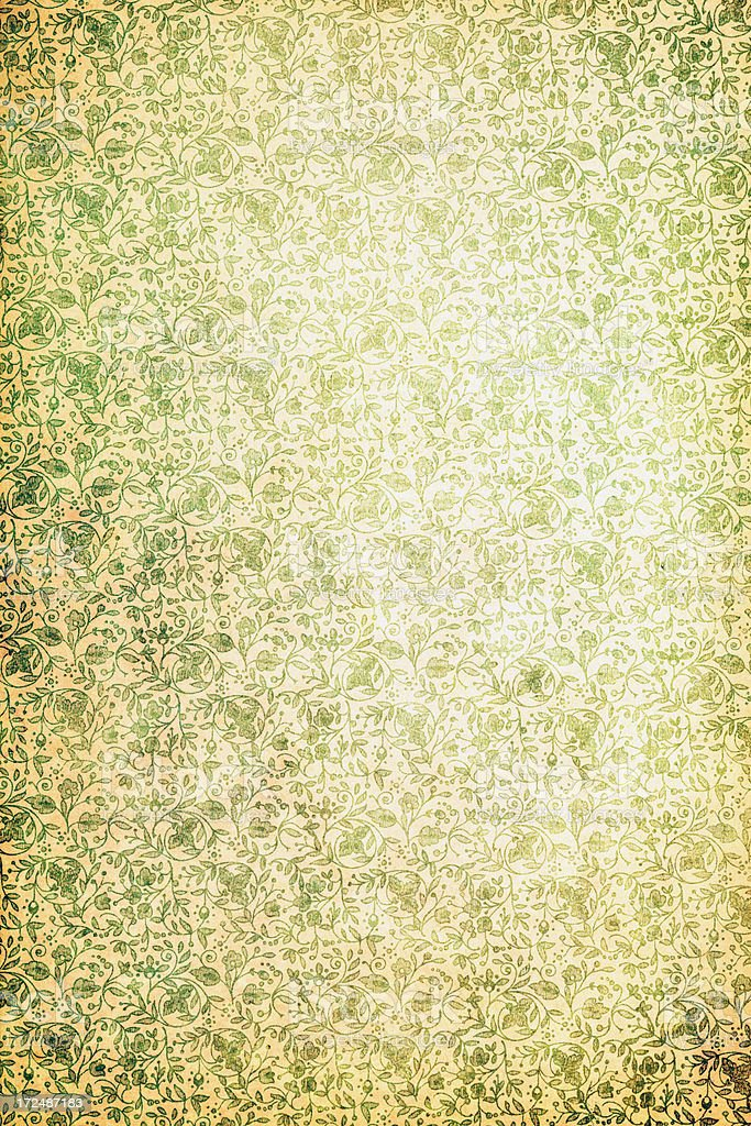 Antique Wallpaper With Green Flowers royalty-free stock photo