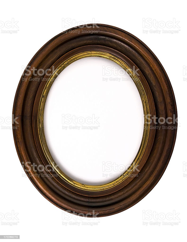 Antique Walnut Oval Picture Frame  Isolated on White royalty-free stock photo