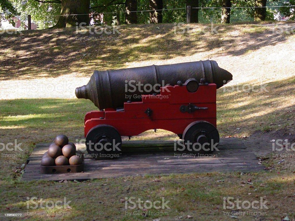 Antique war canon stock photo