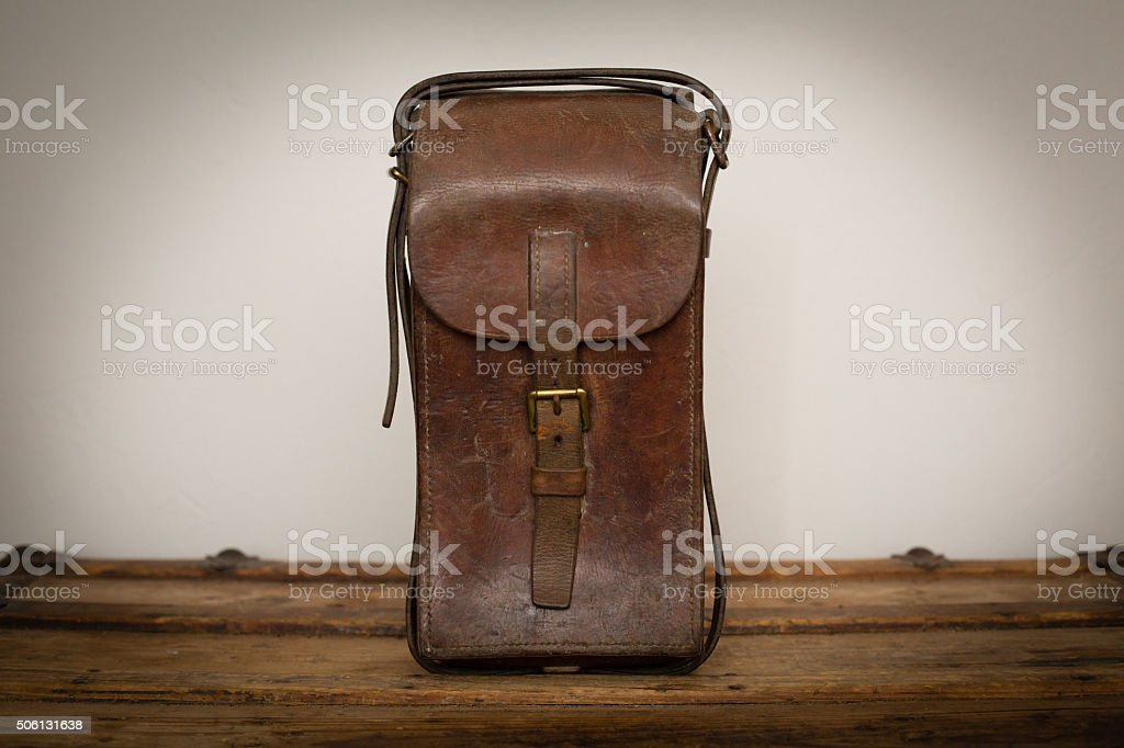 Antique Wartime Brown Leather Ammo Bag, Ammunition Pouch stock photo