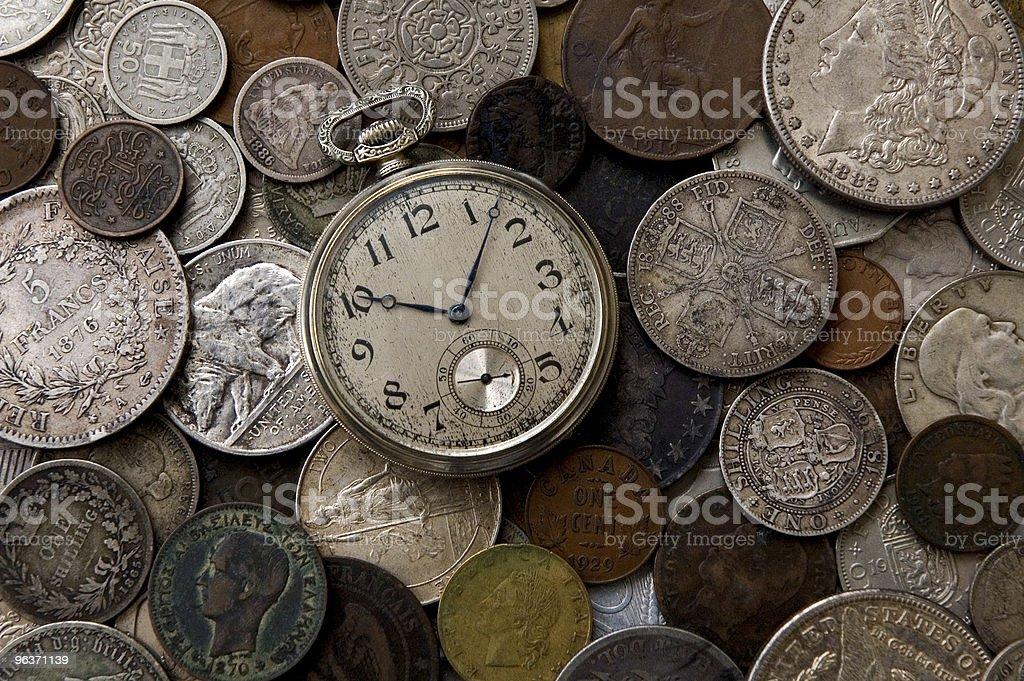 Vecchio orologio antico di monete foto stock royalty-free
