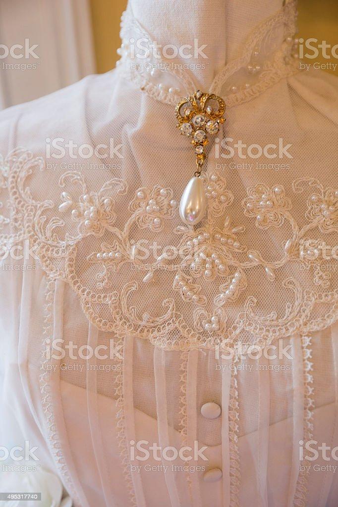 Antique wedding dress stock photo