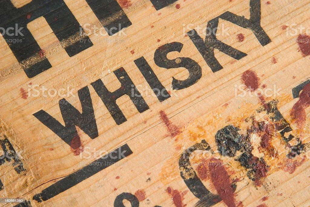 Antique Whiskey Box Detail stock photo