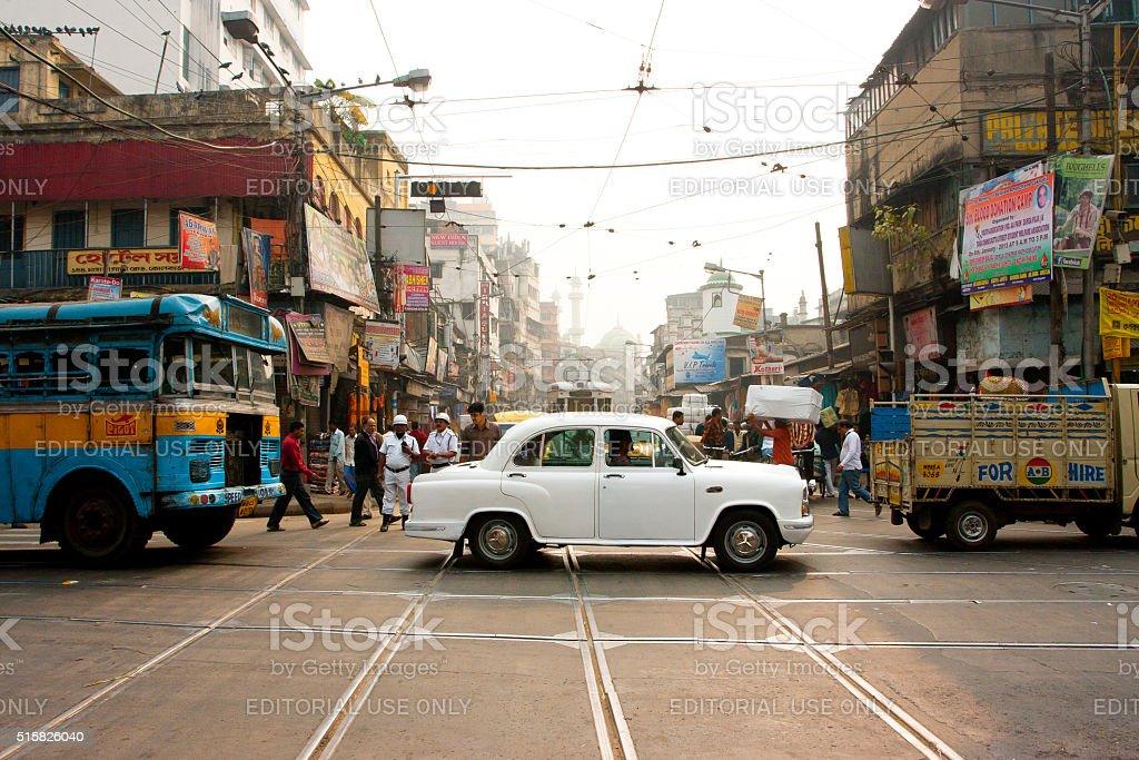 Antique white Ambassador car in India stock photo