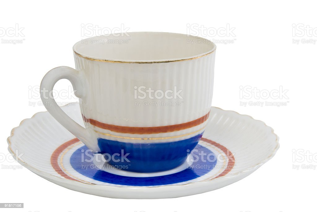 antique white blue and red tea cup with matching saucer royalty-free stock photo