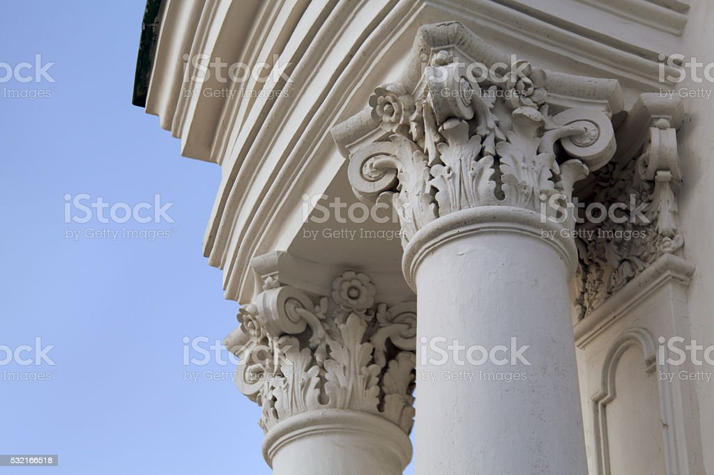 Antique white column stock photo